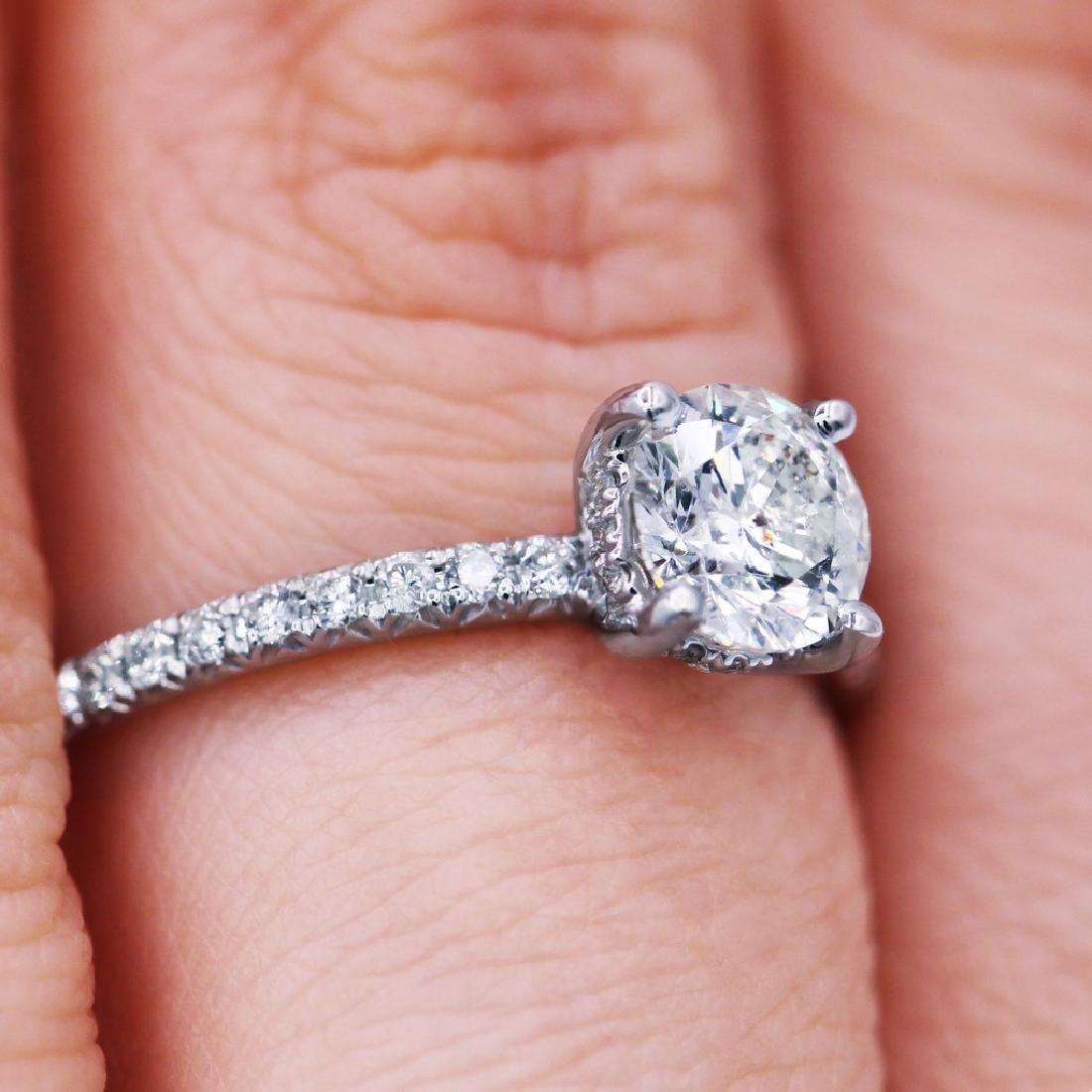 Sparkling 1.03 TCW round cut diamond pave engagement - 5