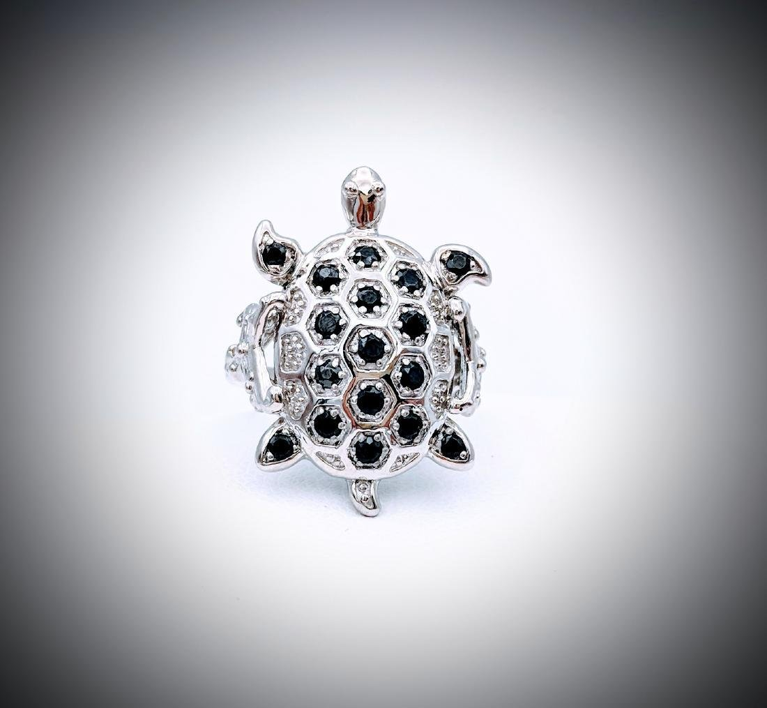 Sterling Silver Sz 7 Turtle Designed Melanite Ring