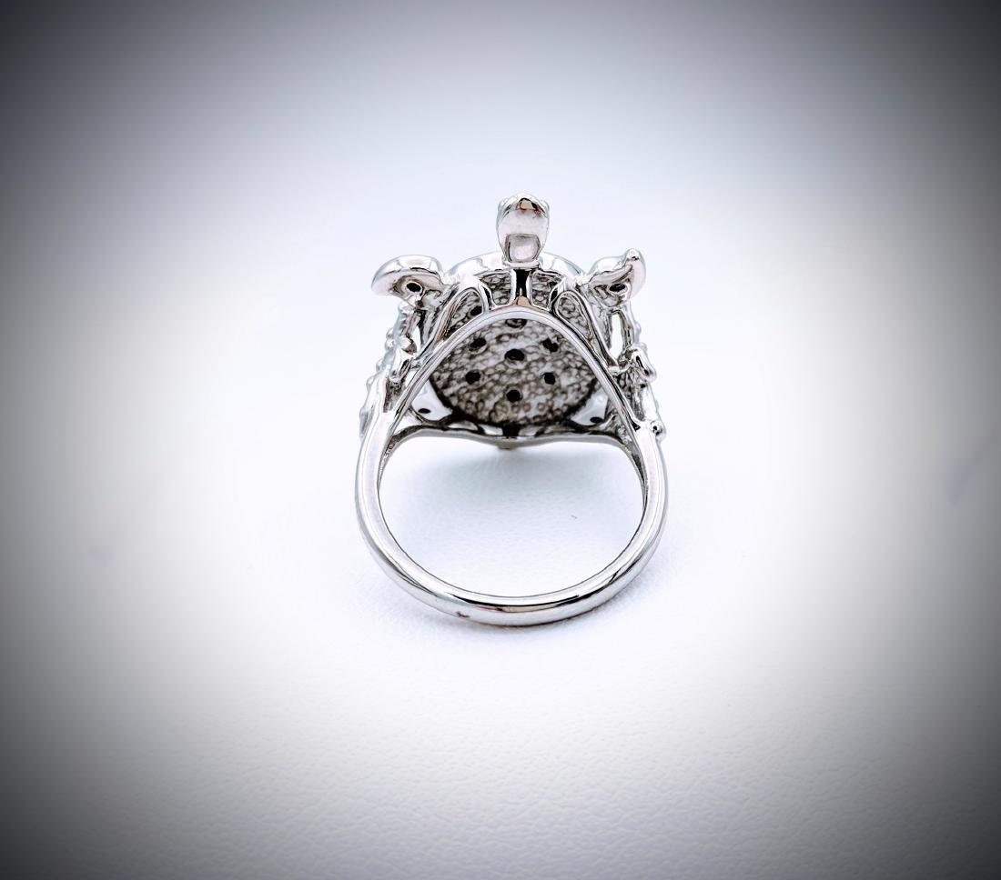 Sterling Silver Sz 7 Turtle Designed Melanite Ring - 2