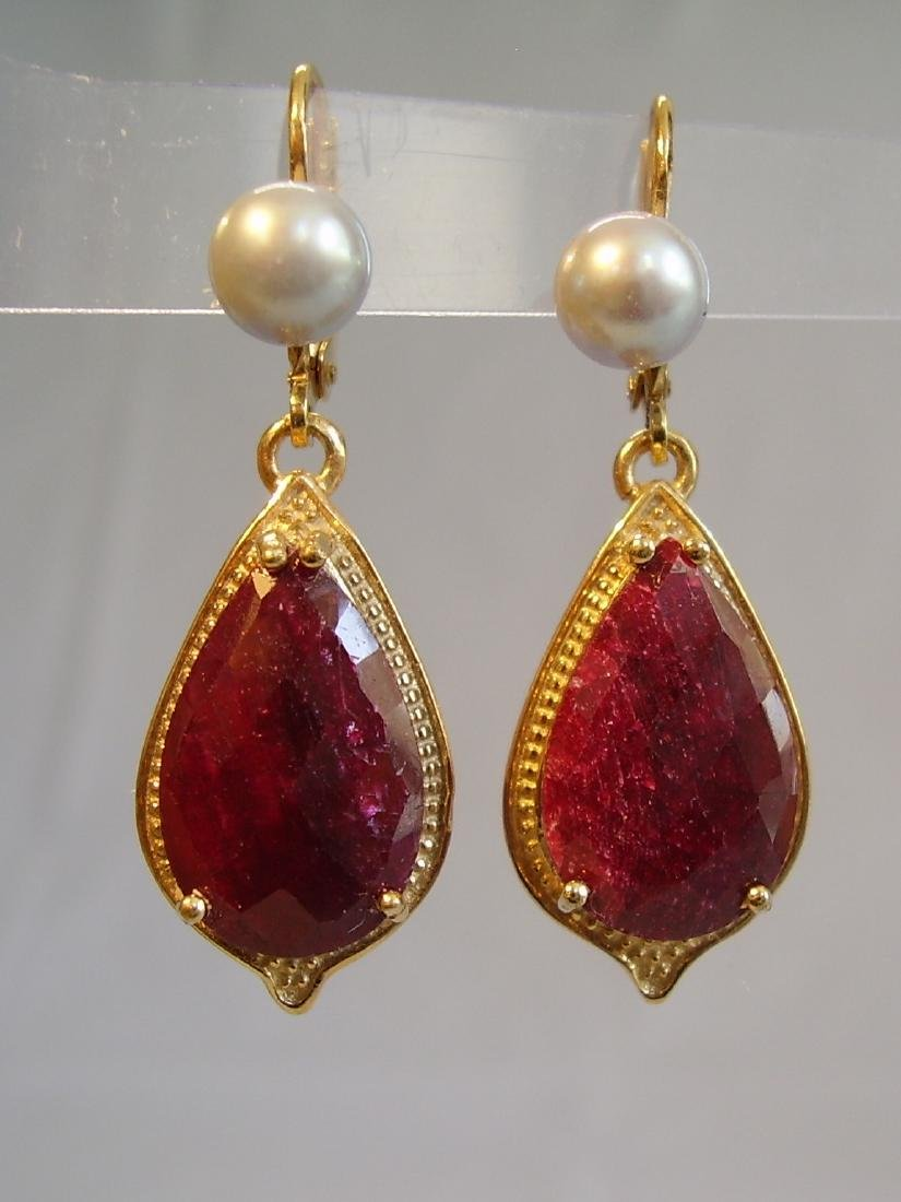 earrings with ruby and grey pearls