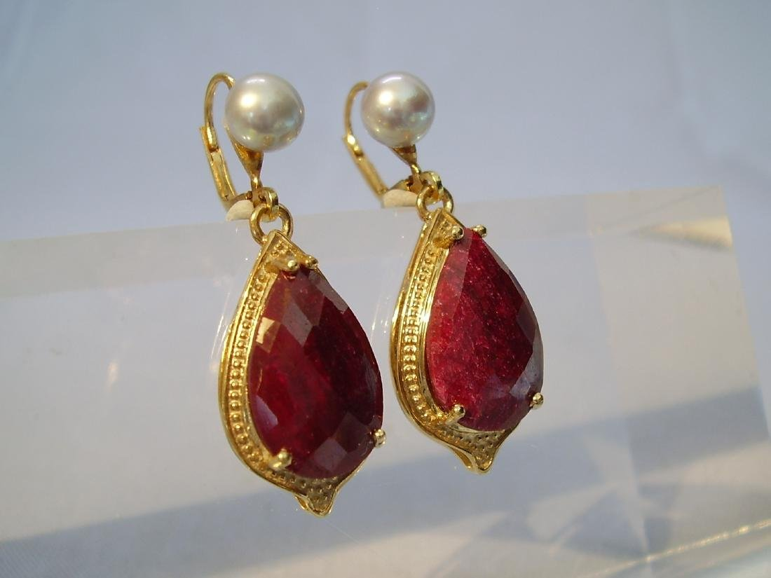 earrings with ruby and grey pearls - 3