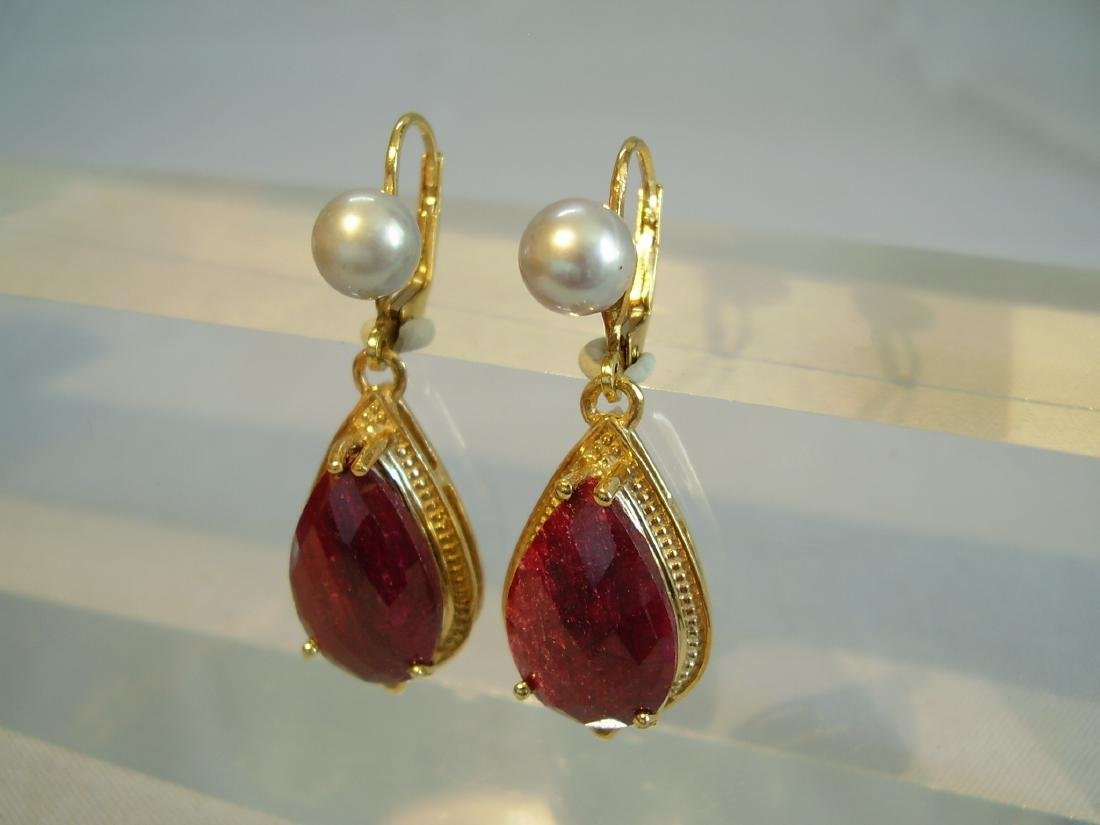 earrings with ruby and grey pearls - 4