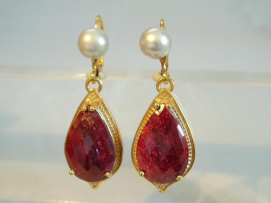 earrings with ruby and grey pearls - 5