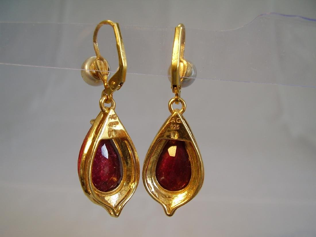 earrings with ruby and grey pearls - 7