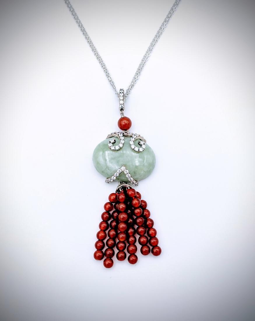 Sterling Silver Pendant w Jade, Carnelian Beads, CZ &
