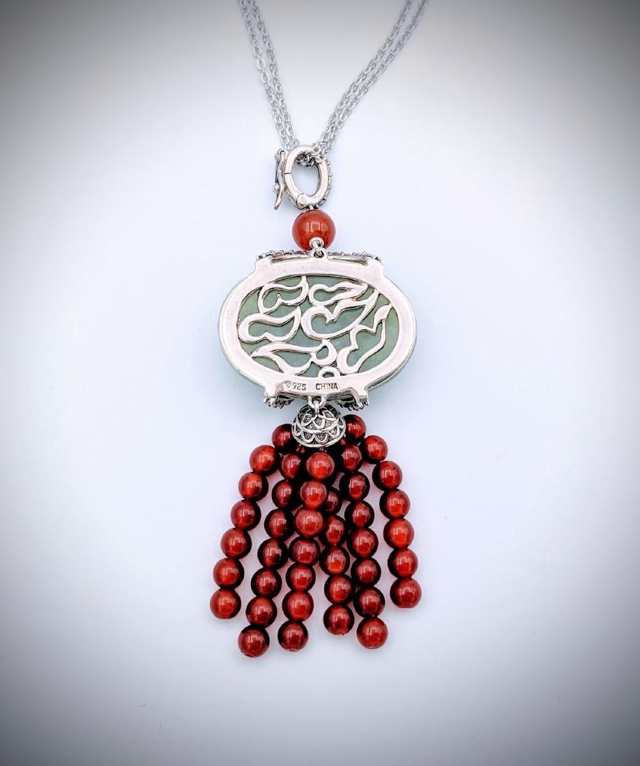 Sterling Silver Pendant w Jade, Carnelian Beads, CZ & - 2