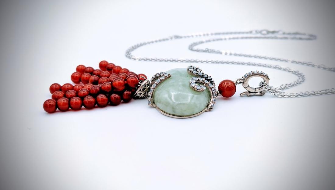 Sterling Silver Pendant w Jade, Carnelian Beads, CZ & - 3