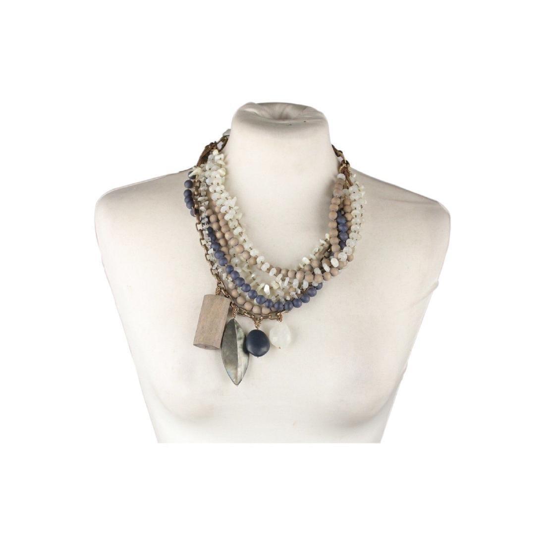 PELLINI MILANO Asymmetric Multi Strands Necklace Blue
