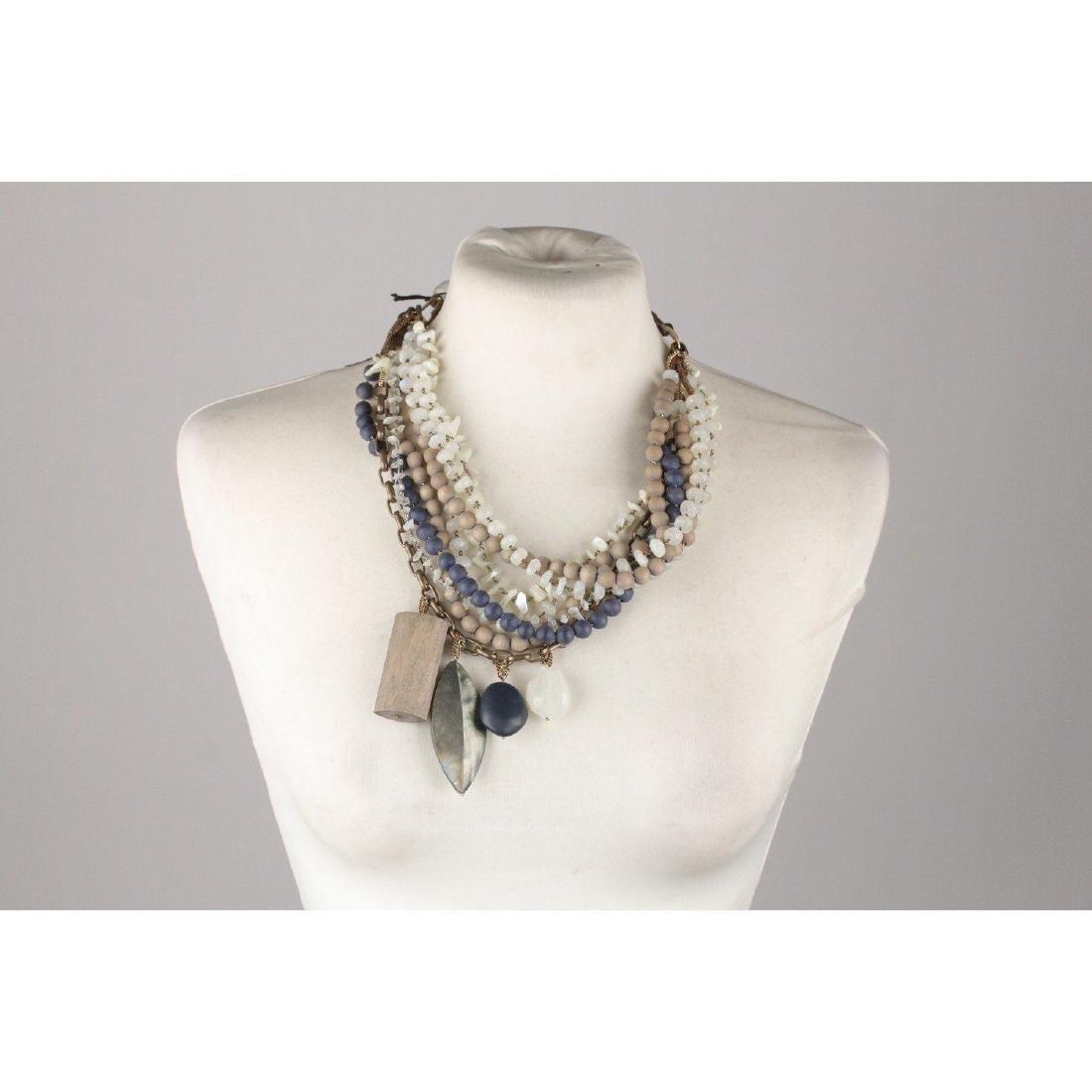 PELLINI MILANO Asymmetric Multi Strands Necklace Blue - 3