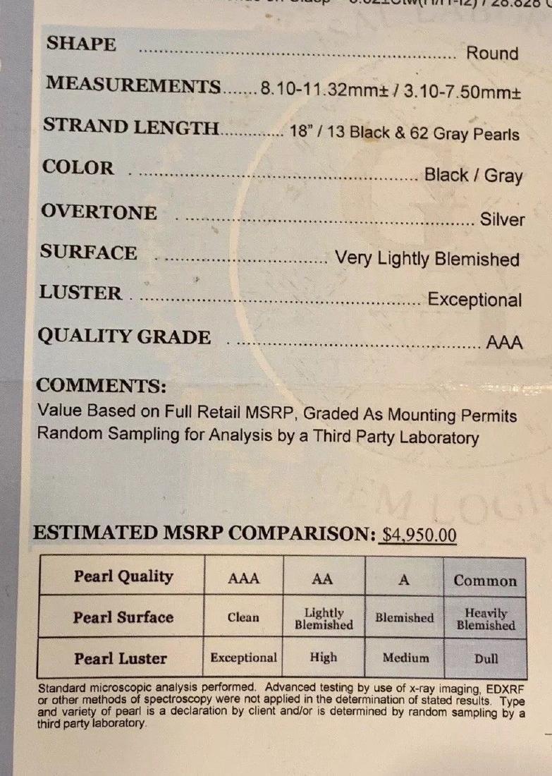 CERTIFIED $4,950 Graduated Black Tahitian Pearl 11.32 - 10
