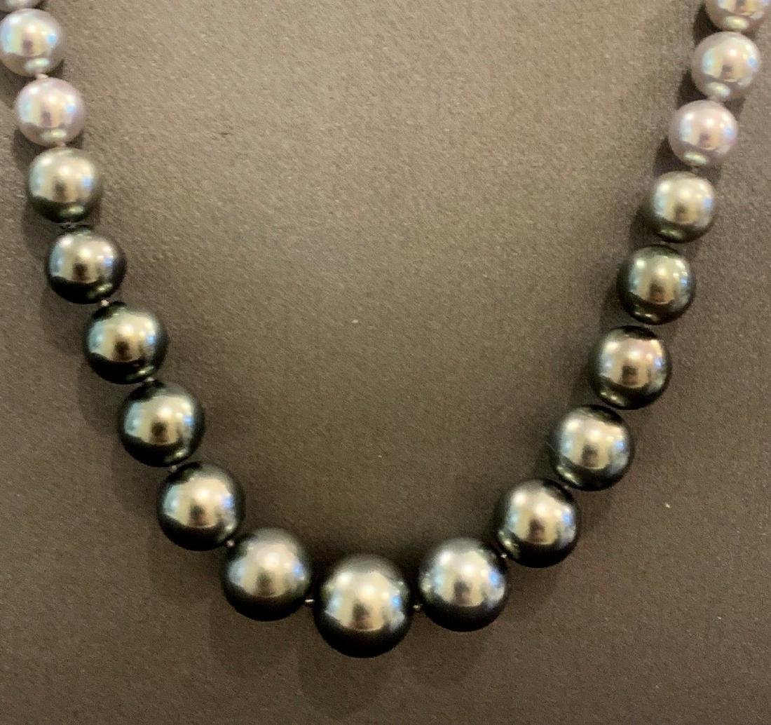 CERTIFIED $4,950 Graduated Black Tahitian Pearl 11.32 - 5