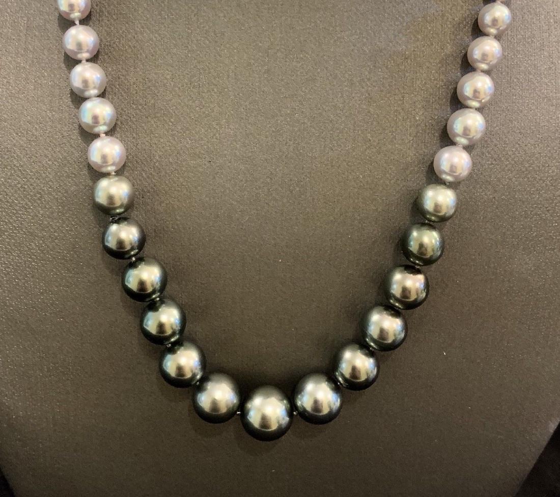 CERTIFIED $4,950 Graduated Black Tahitian Pearl 11.32 - 6