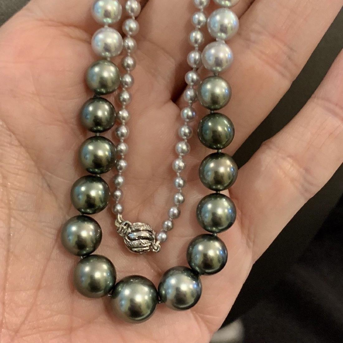 CERTIFIED $4,950 Graduated Black Tahitian Pearl 11.32 - 9