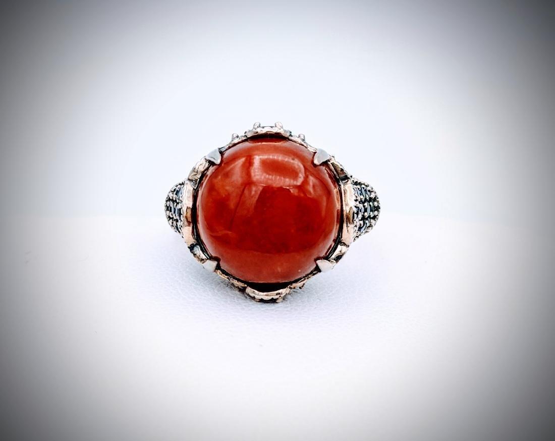 Sterling Silver Sz 7 Jasper, Red Garnet & Melanite Ring