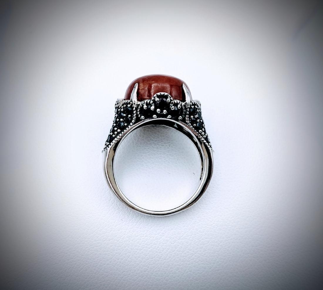 Sterling Silver Sz 7 Jasper, Red Garnet & Melanite Ring - 2