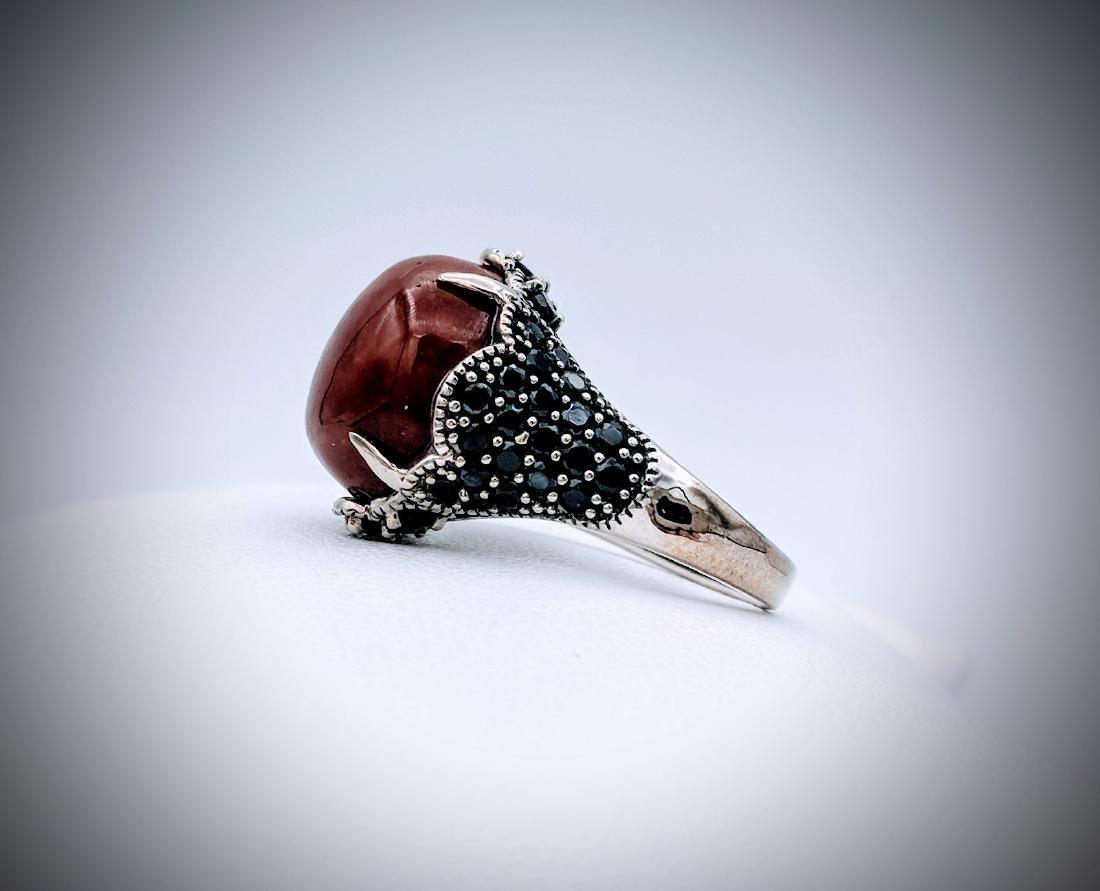 Sterling Silver Sz 7 Jasper, Red Garnet & Melanite Ring - 3