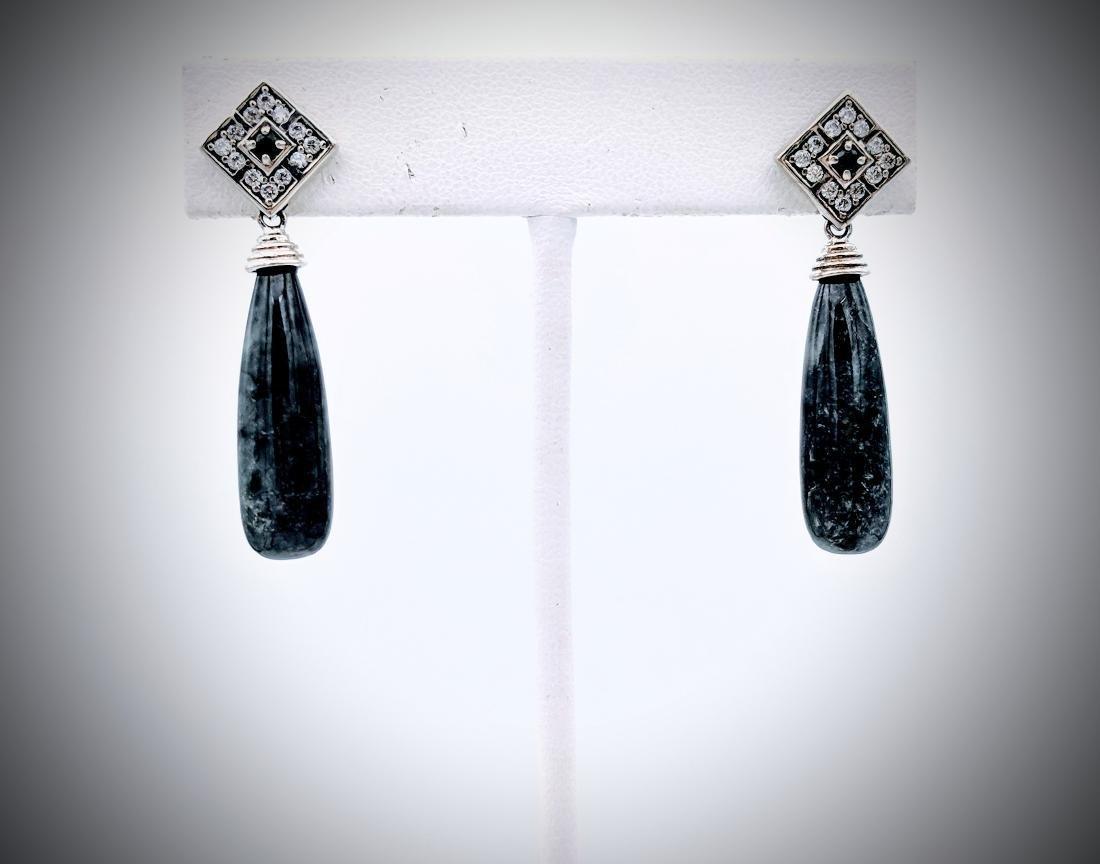 Sterling Silver Nuumite, Melanite & CZ Earrings