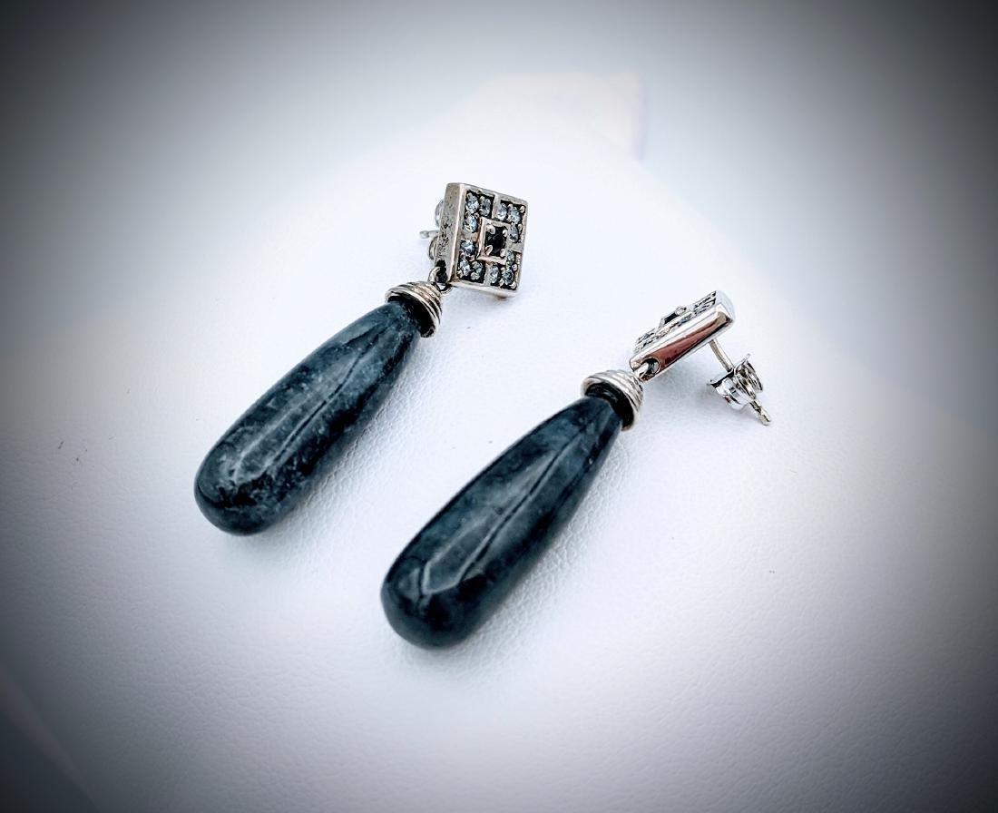 Sterling Silver Nuumite, Melanite & CZ Earrings - 3