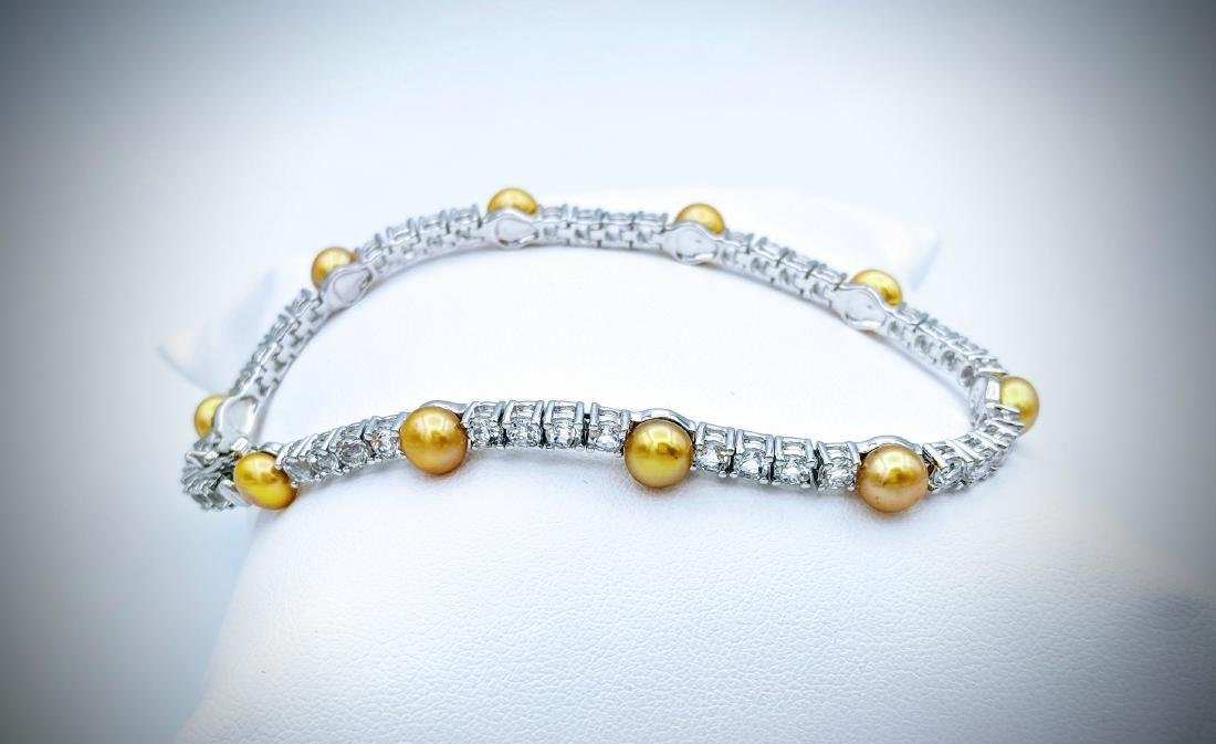 Sterling Silver Golden Pearls & CZ Bracelet