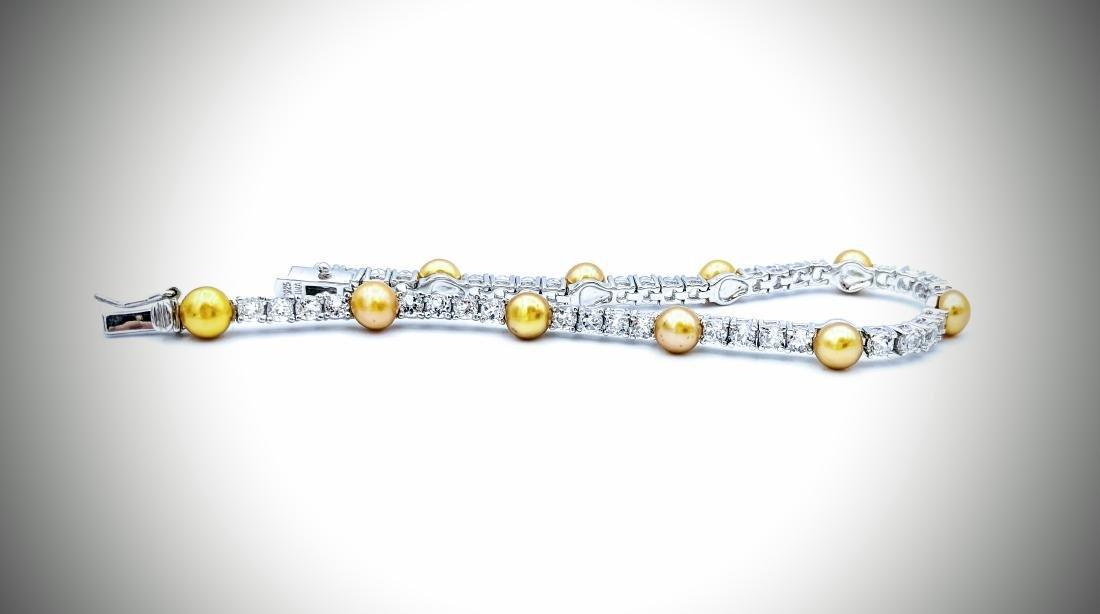 Sterling Silver Golden Pearls & CZ Bracelet - 2