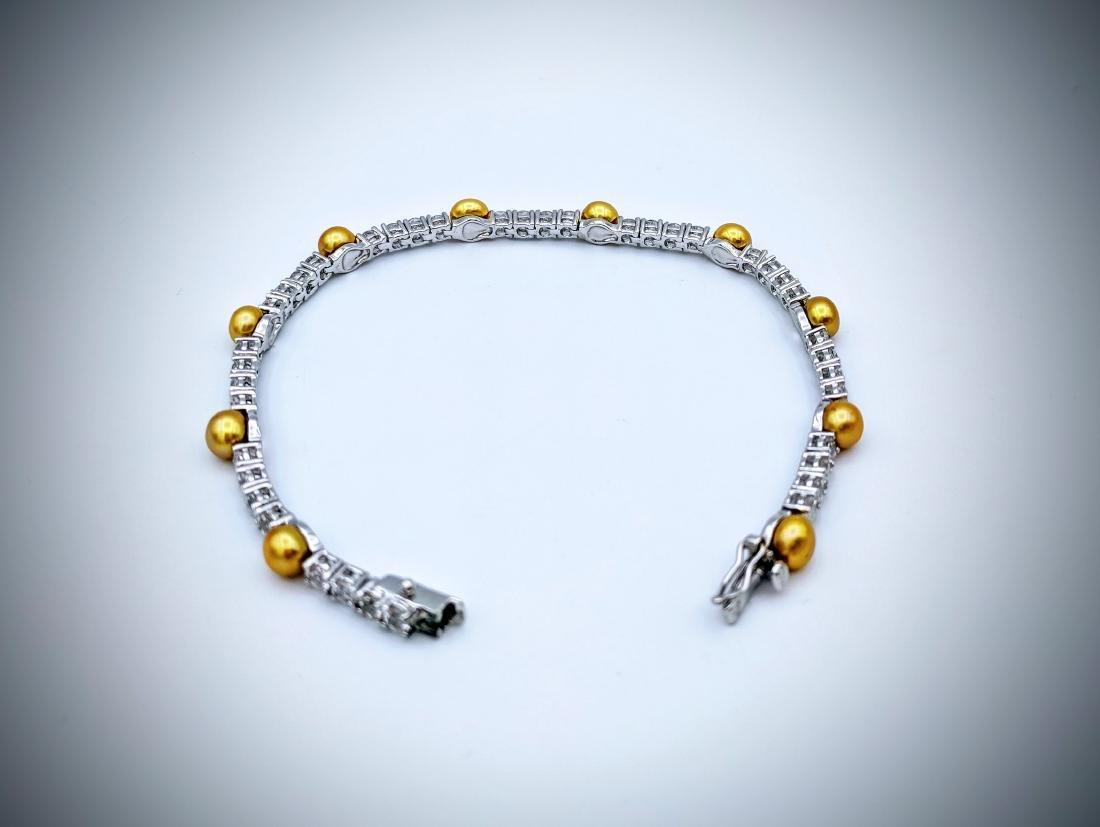 Sterling Silver Golden Pearls & CZ Bracelet - 3
