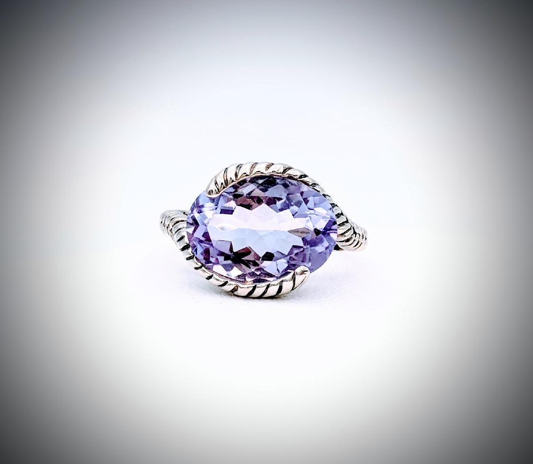 Sterling Silver Sz 7 Wrapped in Leafs Amethyst Ring
