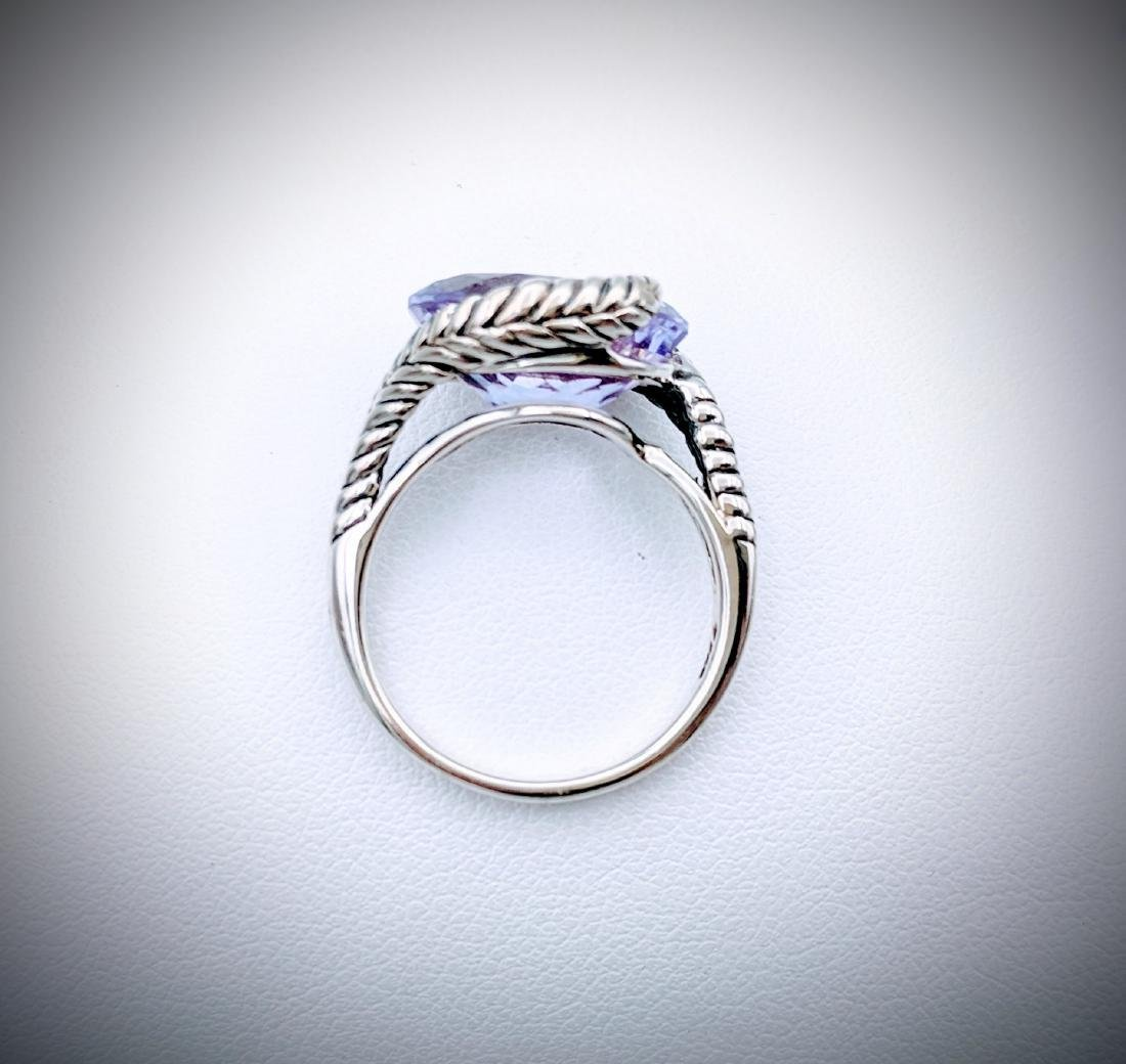 Sterling Silver Sz 7 Wrapped in Leafs Amethyst Ring - 3