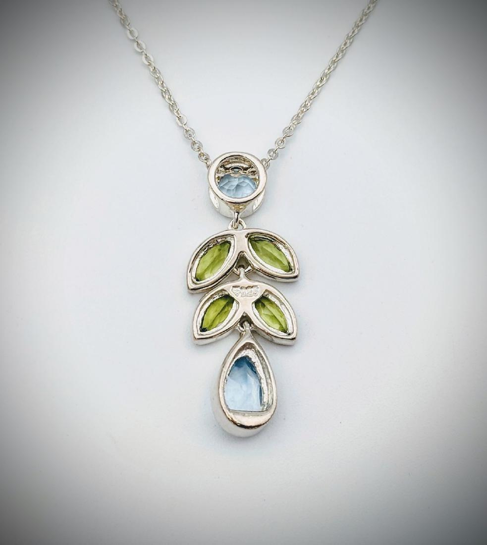 Sterling Silver Necklace w Blue Topaz & Peridot Pendant - 2