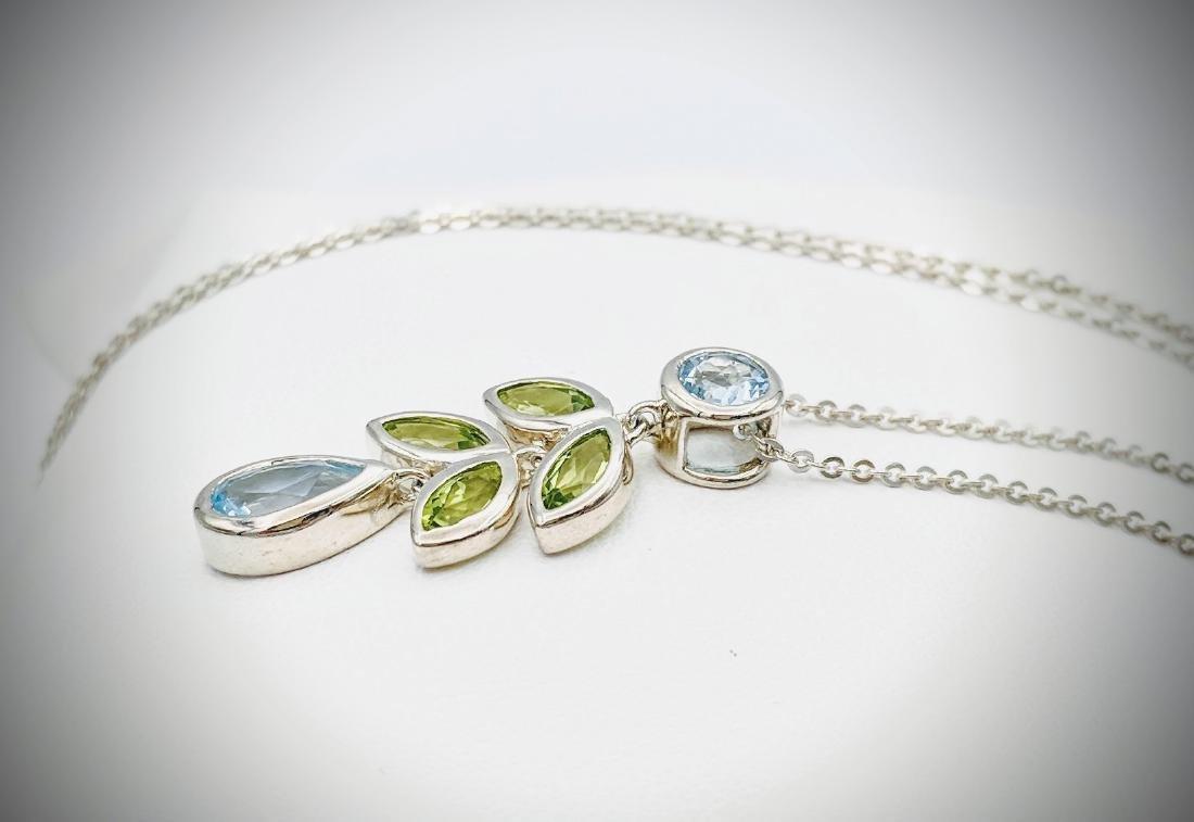 Sterling Silver Necklace w Blue Topaz & Peridot Pendant - 3