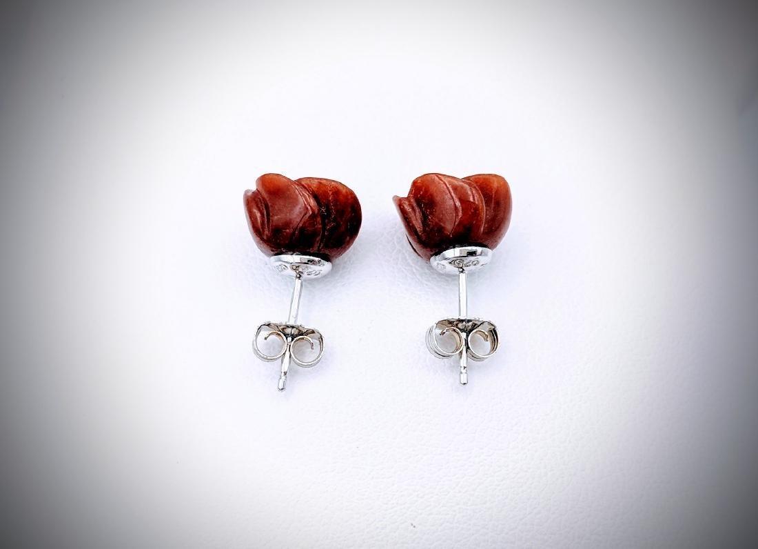 Sterling Silver Rose Designed Jasper Earrings - 2