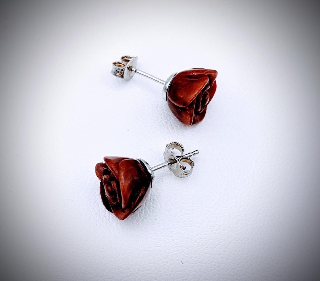 Sterling Silver Rose Designed Jasper Earrings - 3