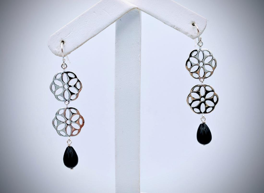 Sterling Silver Triple Drop Earrings w Black Faceted