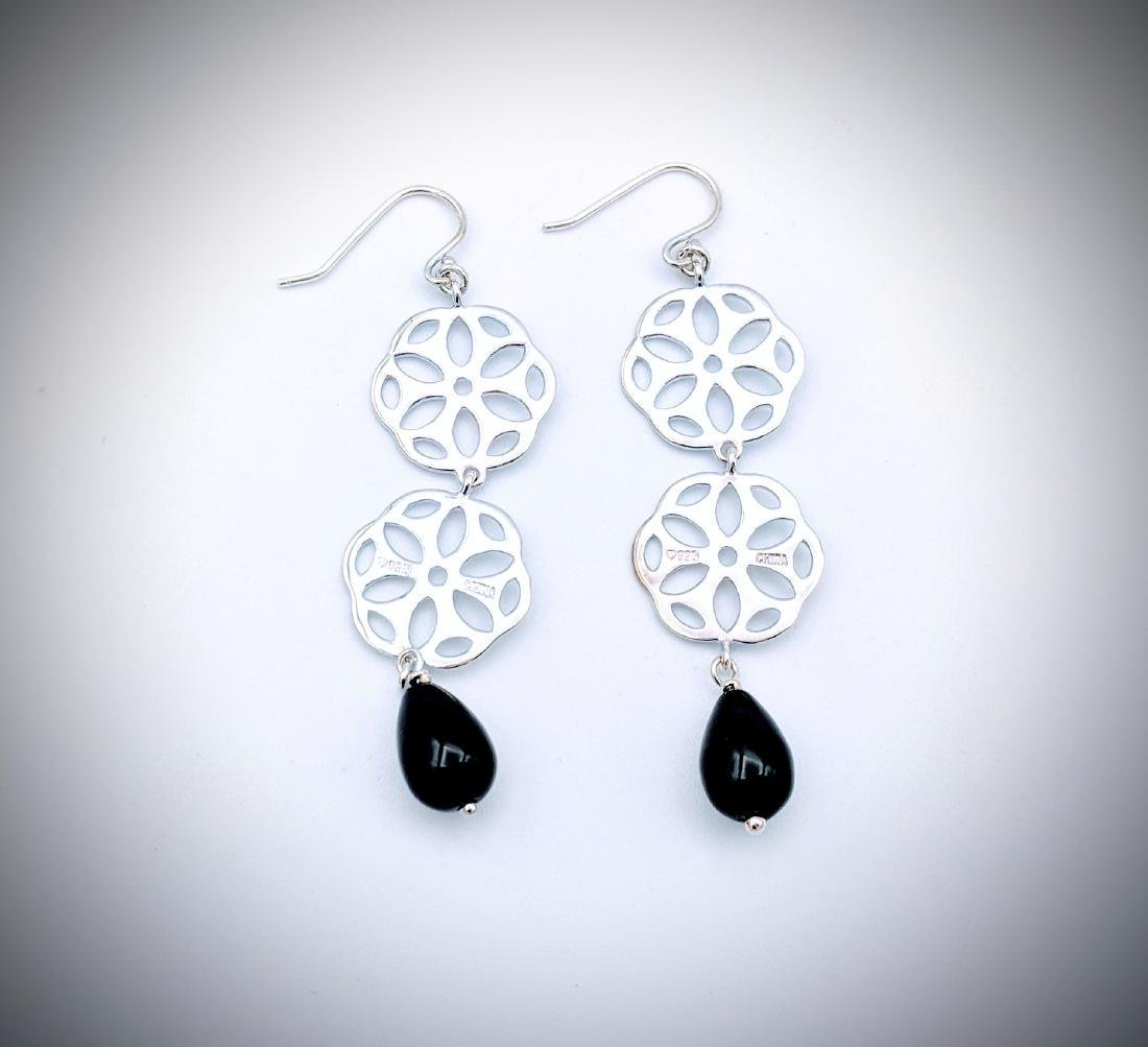 Sterling Silver Triple Drop Earrings w Black Faceted - 2