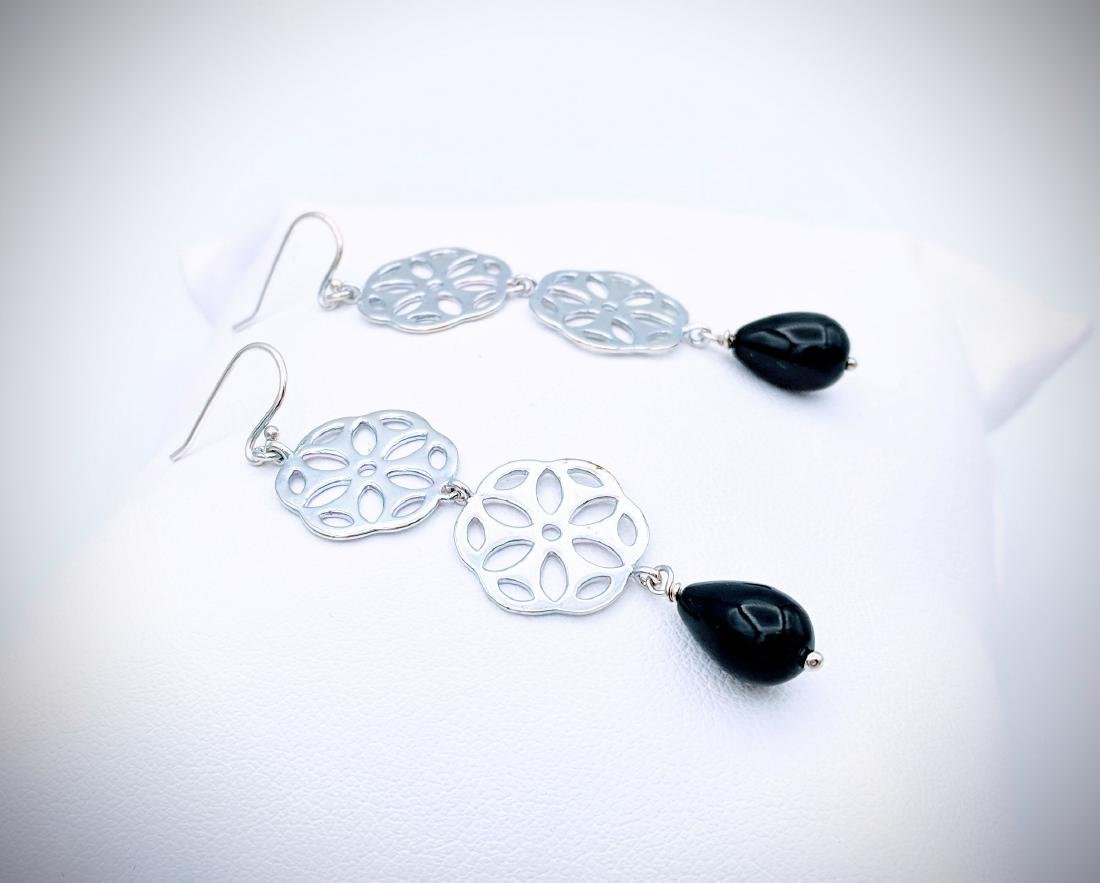 Sterling Silver Triple Drop Earrings w Black Faceted - 3
