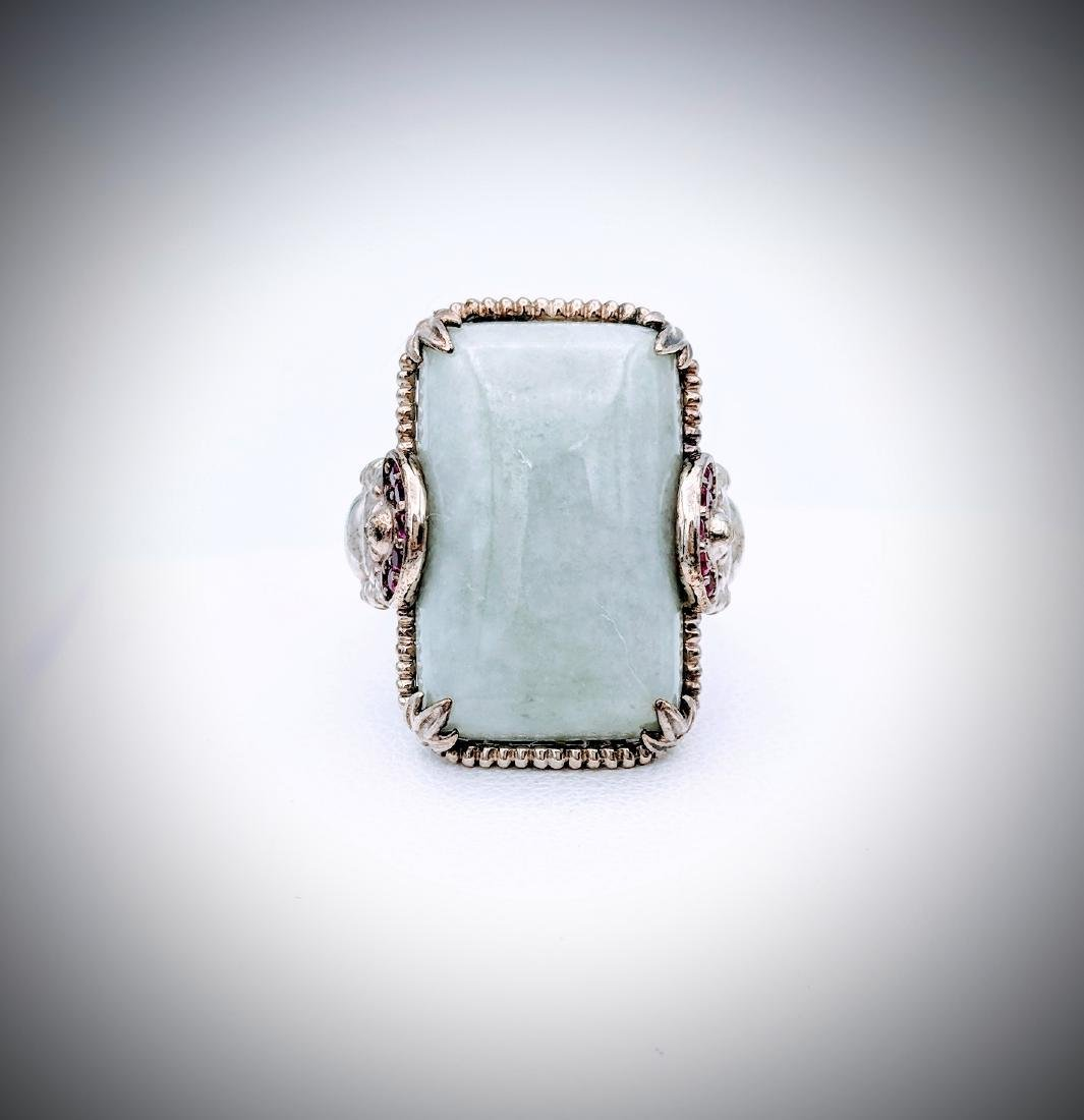 Sterling Silver Sz 7 Ring w Buddha Design, Jade & Pink