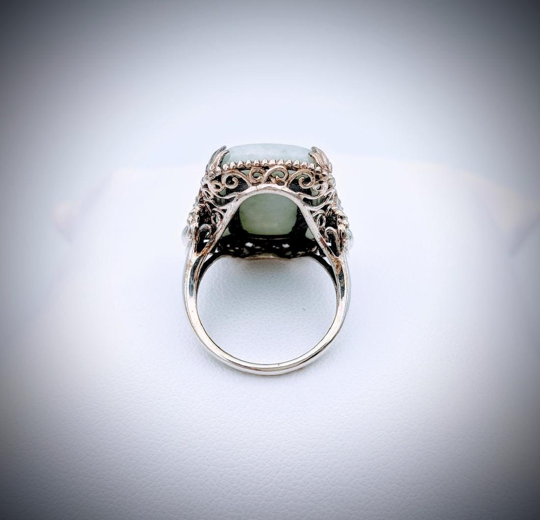 Sterling Silver Sz 7 Ring w Buddha Design, Jade & Pink - 2