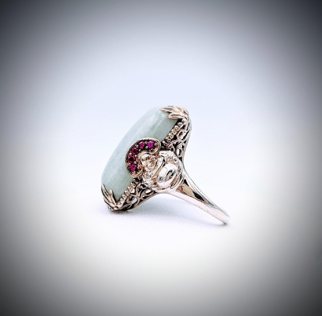 Sterling Silver Sz 7 Ring w Buddha Design, Jade & Pink - 3