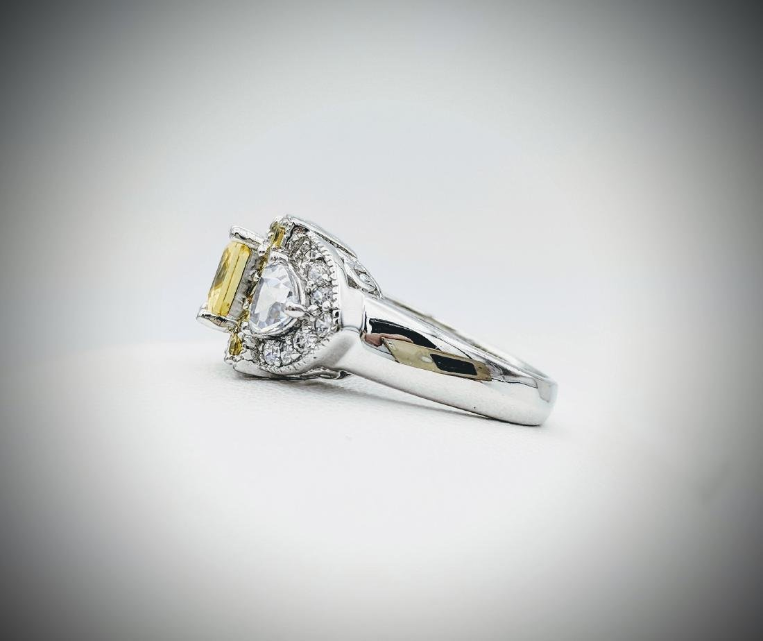 Sterling Silver Sz 7 Yellow Scapolite & CZ Ring - 4
