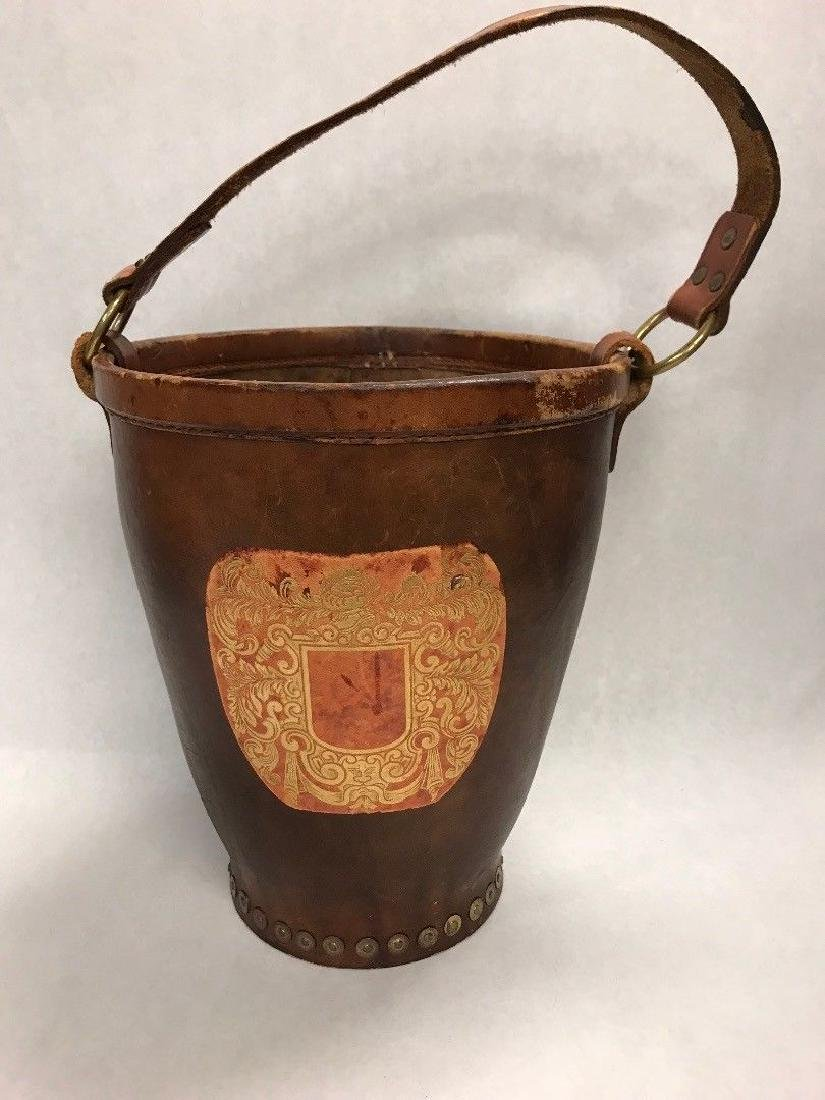 Antique Leather Fire Bucket Horse feeder ENGLAND metal