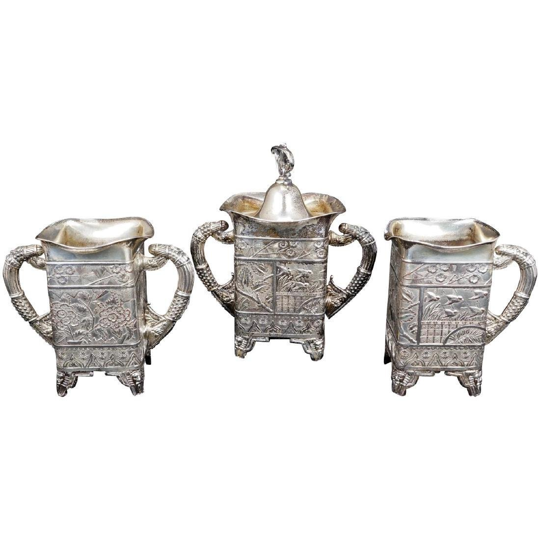 Victorian Aesthetic Movement Silver Plate Tea Set by