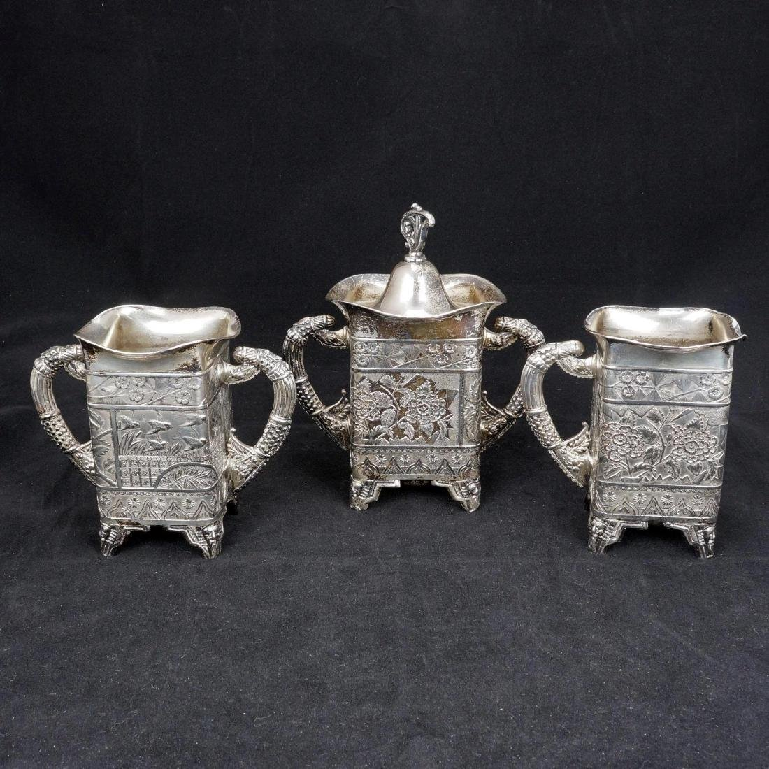 Victorian Aesthetic Movement Silver Plate Tea Set by - 3
