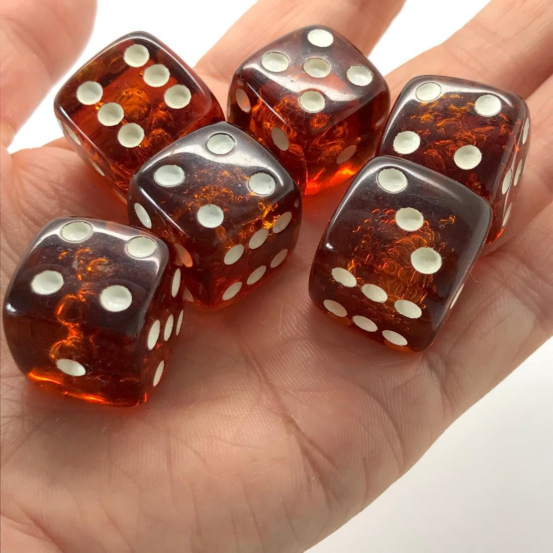 6x Baltic amber dices six-sided - 2
