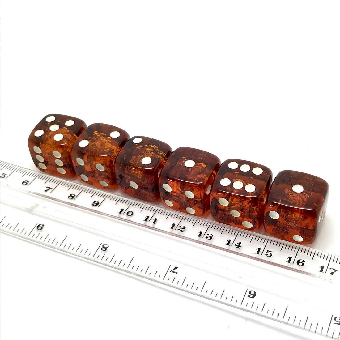 6x Baltic amber dices six-sided - 3