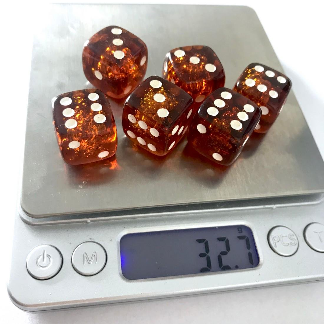 6x Baltic amber dices six-sided - 6