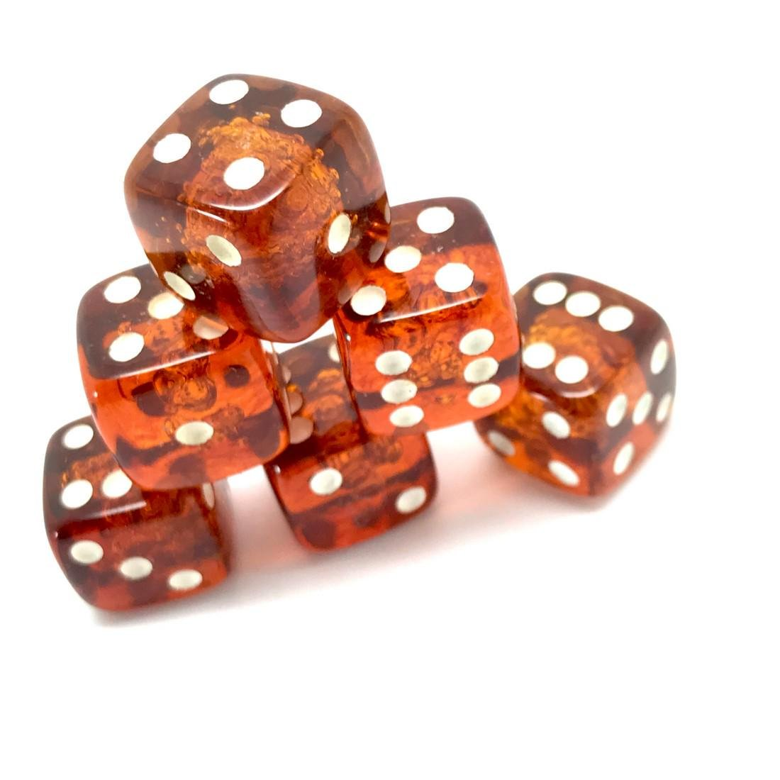 6x Baltic amber dices six-sided - 7