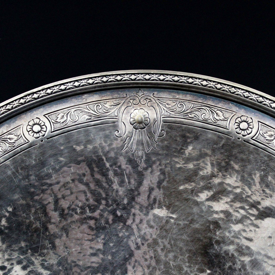 """Vintage 10""""D Colonial Silver Plated Serving Plate - 5"""