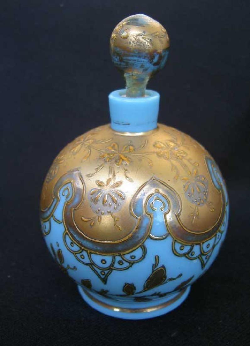 Blue opaline scent bottle by Moser - 2
