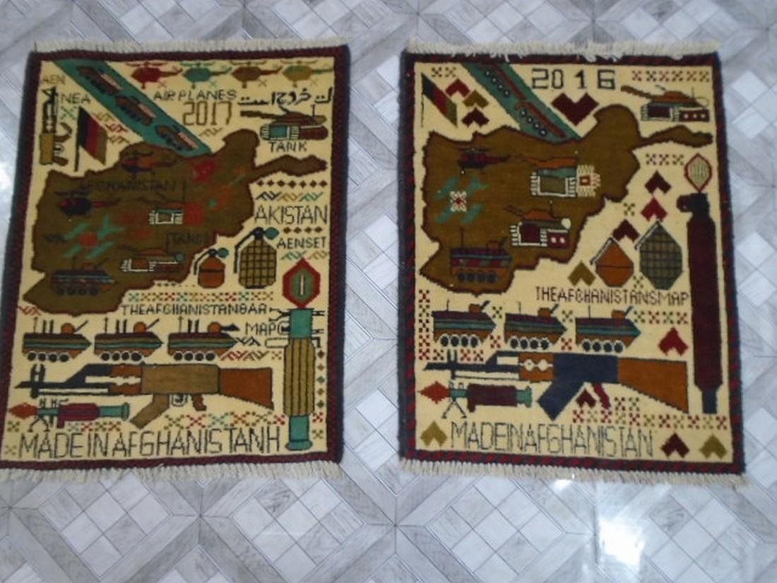 Two Afghan War Rug 2.5 x 1.11 ft /0.77 x .61 ft