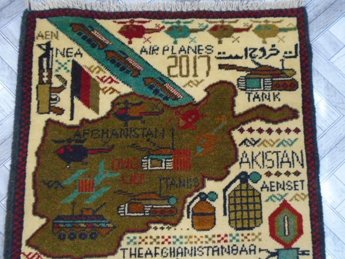 Two Afghan War Rug 2.5 x 1.11 ft /0.77 x .61 ft - 6