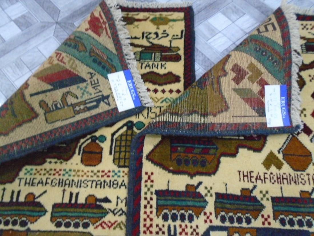 Two Afghan War Rug 2.5 x 1.11 ft /0.77 x .61 ft - 8